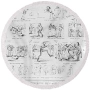 Baseball Cartoons, 1859 Round Beach Towel