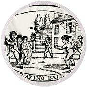 Baseball Game, 1820 Round Beach Towel