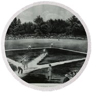 Baseball In 1846 Round Beach Towel by Omikron