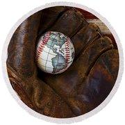 Baseball Mitt With Earth Baseball Round Beach Towel