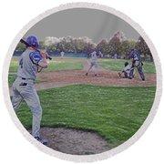 Baseball On Deck Digital Art Round Beach Towel