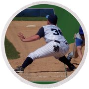 Baseball Pick Off Attempt 02 Round Beach Towel by Thomas Woolworth