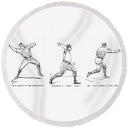 Baseball Pitching, 1889 Round Beach Towel