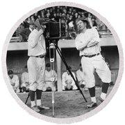 Baseball Players, 1920s Round Beach Towel