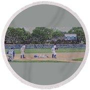 Baseball Playing Hard Digital Art Round Beach Towel