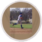 Baseball Step And Throw From Third Base Round Beach Towel