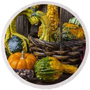 Basket Full Of Gourds Round Beach Towel