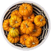 Basket Full Of Small Pumpkins Round Beach Towel