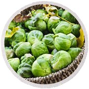 Basket Of Brussels Sprouts Round Beach Towel