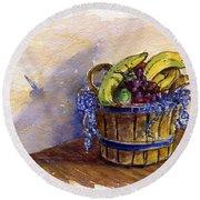 Basket Of Fruit Round Beach Towel