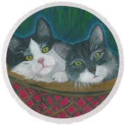 Basket Of Kitties Round Beach Towel