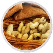 Basket Of Peanuts Round Beach Towel