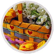 Basket Of Spring Flowers Round Beach Towel