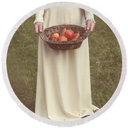 Basket With Fruits Round Beach Towel