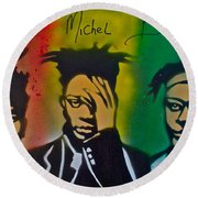 Basquait Me Myself And I Round Beach Towel