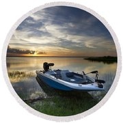 Bass Fishin' Evening Round Beach Towel