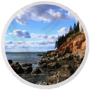 Bass Harbor Head Seascape Round Beach Towel