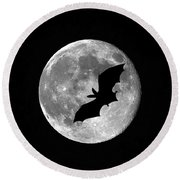 Bat Moon Round Beach Towel