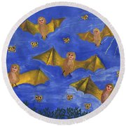 Bat People At The Pipistrelle Party Round Beach Towel