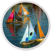 Bateaux Jouets Round Beach Towel by Beth Riser