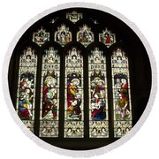 Bath Abbey Stained Glass Round Beach Towel