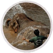 Bath Time In Laos Round Beach Towel