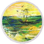Bathed In Golden Light Round Beach Towel