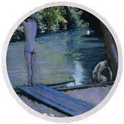 Bather About To Plunge Into The River Yerres Round Beach Towel