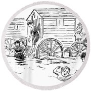 Bathing Machine, 1888 Round Beach Towel