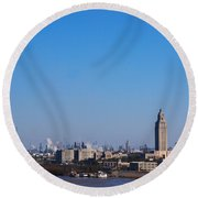 Baton Rouge Skyline Louisiana  Round Beach Towel