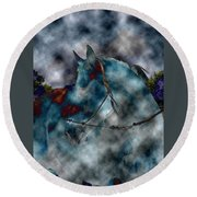 Battle Cloud - Horse Of War Round Beach Towel