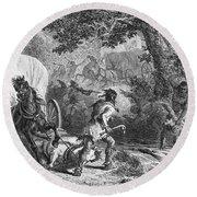 Battle Of Bloody Brook 1675 Round Beach Towel