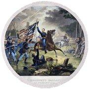 Battle Of Chantlly, 1862 Round Beach Towel