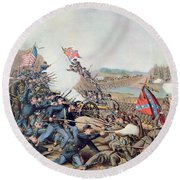 Battle Of Franklin November 30th 1864 Round Beach Towel