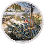 Battle Of Lookout Mount Round Beach Towel