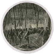 Battle Of The Wilderness, 1864 Round Beach Towel by Photo Researchers