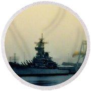 Battleship New Jersey Round Beach Towel