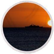 Battleship Sunset Round Beach Towel