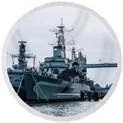 Battleships And Tugboat Round Beach Towel