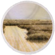 Bay City Pier Round Beach Towel