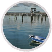 Bay Of Whispers Round Beach Towel