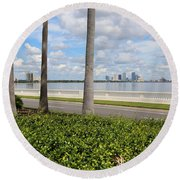 Bayshore Through Palms Round Beach Towel