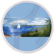 Bayville Marsh Round Beach Towel