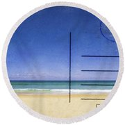Beach And Blue Sky On Postcard  Round Beach Towel by Setsiri Silapasuwanchai