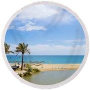 Beach And Sea On Costa Del Sol Round Beach Towel