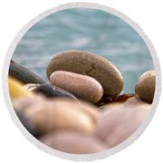 Beach And Stones Round Beach Towel by Stelios Kleanthous