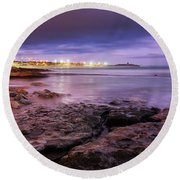 Beach At Dusk Round Beach Towel by Carlos Caetano
