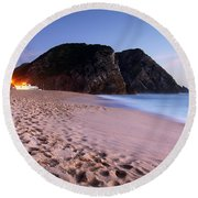 Beach At Evening Round Beach Towel by Carlos Caetano