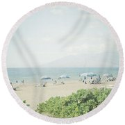 Beach At Wailea  Round Beach Towel