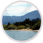 Beach Biking Lake Tahoe Round Beach Towel